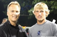 Camden County quarterback Brice Ramsey with Georgia coach Mark Richt