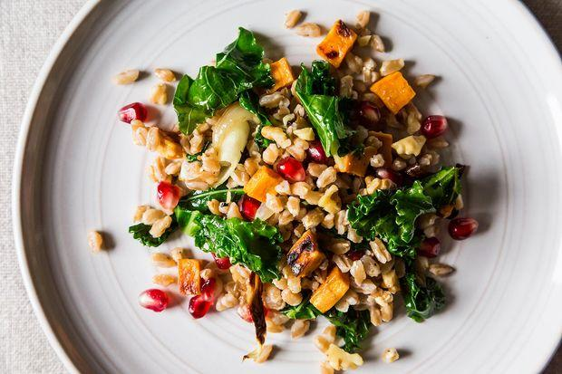 Farro Salad with Roasted Sweet Potato, Kale, and Pomegranate Seeds