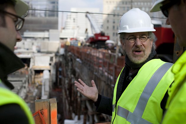 Mr. Steven Spielberg tours Ground Zero as part of the making of the show &quot;Rising: Rebuilding Ground Zero.&quot; 