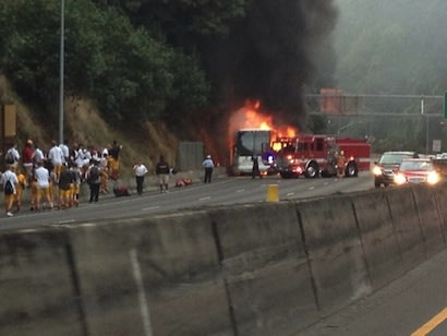 The Central Catholic football team was stranded by a bus fire — Twitter