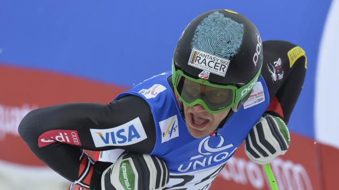 United States'  Steven Nyman reacts during the men's downhill training at the Alpine skiing world championships in Schladming, Austria, Thursday, Feb.7,2013. (AP Photo/Kerstin Joensson)