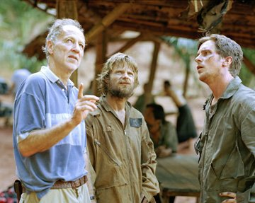 Director Werner Herzog , Steve Zahn and Christian Bale on the set of MGM's Rescue Dawn