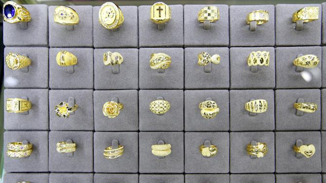 Gold rings are seen on display for customers at the Korea Gold Exchange in Seoul