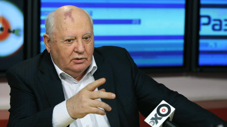 In this photo taken late Monday, Nov. 12, 2012, former President of the Soviet Union Mikhail Gorbachev speaks to journalists on Ekho Moskvy radio in Moscow, Russia. Gorbachev has authored a new book of memoirs that comes out Tuesday, Nov. 13, 2012. (AP Photo/Alexander Zemlianichenko)