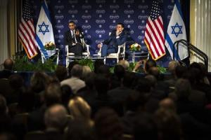 U.S. President Barack Obama speaks with Israeli-American media tycoon Haim Saban in front of a live audience about negotiations with Iran in Washington