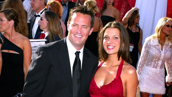 Matthew Perry and guest at The 55th Annual Primetime Emmy Awards.