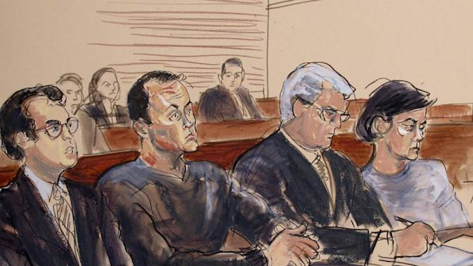 """This courtroom sketch shows Mark L Hotton, second from left, at an arraignment in US District Court in Central Islip, NY., Monday, Oct. 15, 2012. Hotton, a former stock broker accused of swindling the producers of a Broadway adaptation of """"Rebecca"""", has pleaded not guilty to fraud and money-laundering charges in a separate case. (AP Photo/Elizabeth Williams)"""