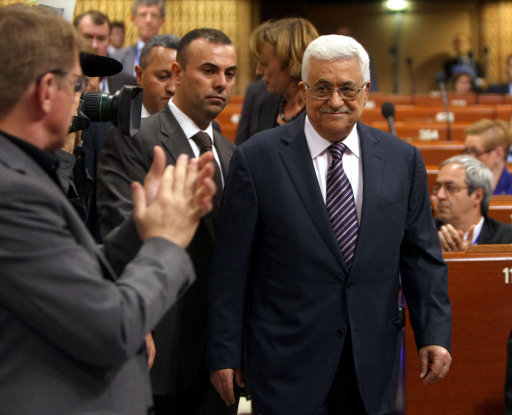 Palestinian President Mahmoud Abbas enters the Council of Europe prior to an address in Strasbourg, eastern France, Thursday, Oct. 6, 2011. Abbas has addressed the parliamentary assembly of the 47-member Council of Europe after appealing last month for United Nations recognition of a Palestinian state, which is opposed by the United States and Israel. Abbas is urging European countries that have expressed past willingness to recognize a Palestinian state that