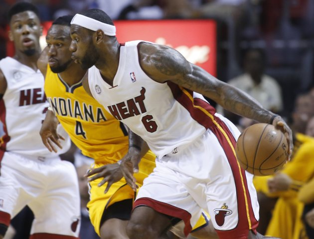 Heat's James drives on Pacers' Young during Game 2 of their NBA Eastern Conference final playoff in Miami