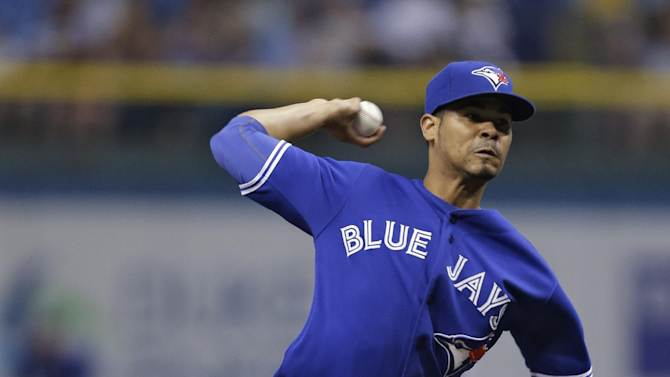 Toronto Blue Jays starting pitcher Esmil Rogers delivers to Tampa Bay Rays' Ben Zobrist during the first inning of a baseball game, Monday, June 24, 2013, in St. Petersburg, Fla. (AP Photo/Chris O'Meara)