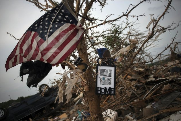 Salvaged items hang from a tree in Moore, Oklahoma