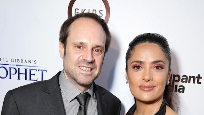 """Jeff Skoll, Executive Producer and Founder/Chairman of Participant Media and Producer Salma Hayek seen at Participant Media Special Los Angeles Screening of """"Kahlil Gibran's The Prophet"""" held at LACMA's Bing Theater on Wednesday, July 29, 2015, in Los Angeles. (Photo by Eric Charbonneau/Invision for Participant Media/AP Images)"""