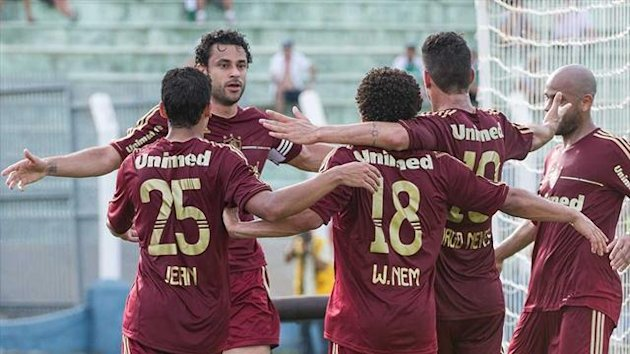 Fred and his Fluminense team-mates celebrate after his late goal against Palmeiras (AFP)