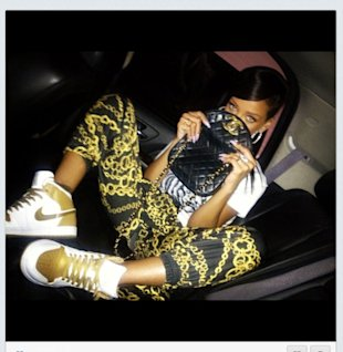 Missing Chris Brown? Rihanna Tweets 'Miss You' In Scarf Print Joggers & Vintage Chanel