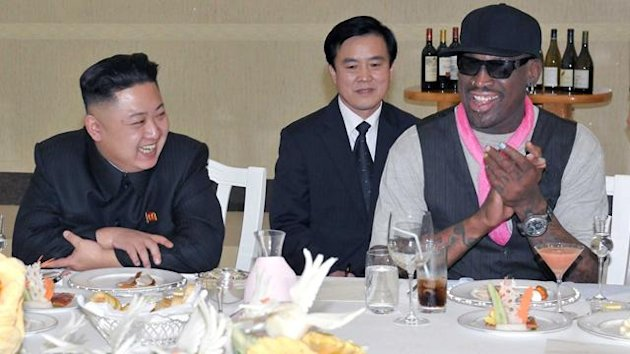 North Korean leader Kim Jong-Un and former NBA basketball player Dennis Rodman (R) talk in Pyongyang in this undated picture released by North Korea's KCNA news agency on March 1, 2013