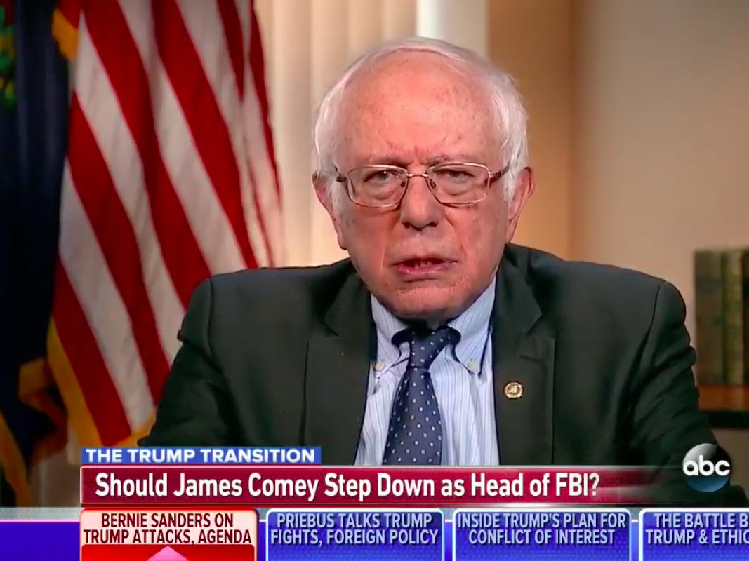 'Comey acted in an outrageous way during the campaign': Bernie Sanders suggests FBI director should resign