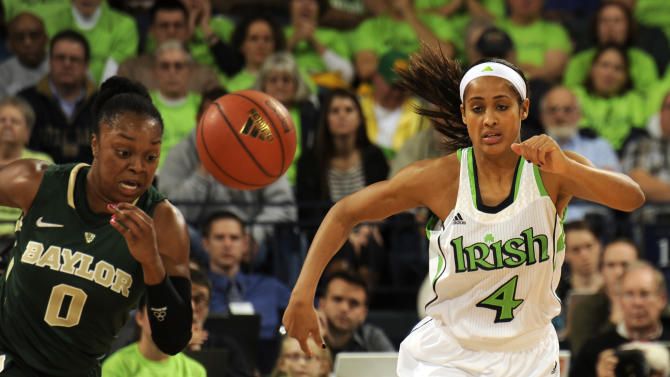 Baylor guard Odyssey Sims, left and Notre Dame guard Skylar Diggins give chase for a loose ball during the first half of an NCAA college basketball game on Wednesday, Dec. 5, 2012, in South Bend, Ind.  (AP Photo/Joe Raymond