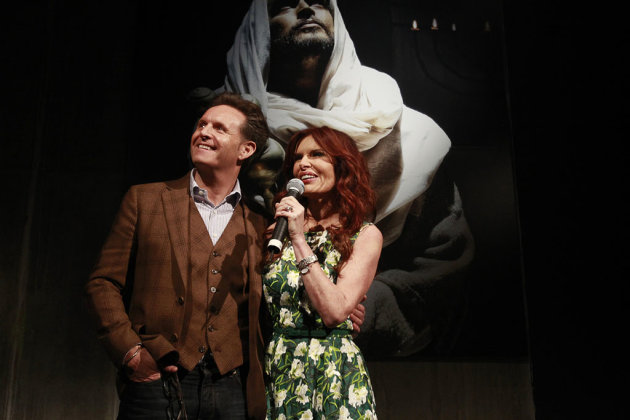 Producer Mark Burnett and producer and actress Roma Downey speak to guests at &quot;The Bible Experience&quot; opening night gala, a rare exhibit of biblical artifacts, in New York City on Tuesday, March 19 in New York.