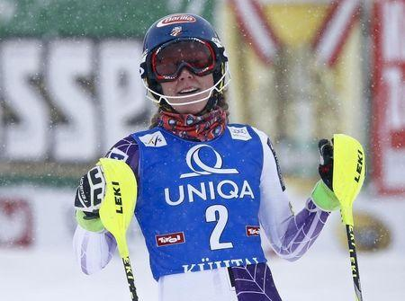 Shiffrin from the US reacts after her second run of the World Cup Women's Slalom race in Kuehtai ski resort