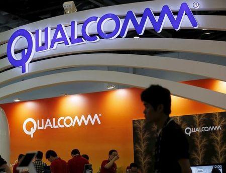 Qualcomm's logo is seen at its booth at the Global Mobile Internet Conference (GMIC) 2015 in Beijing