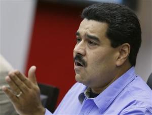 Venezuela's President Nicolas Maduro talks during a Council of Ministers meeting at Miraflores Palace in Caracas