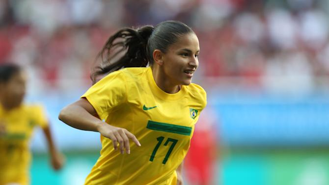 Brazil's Debora De Oliveira celebrates after scoring during a women's soccer gold medal match against Canada at the Pan American Games in Guadalajara, Mexico, Thursday, Oct. 27, 2011. (AP Photo/Juan Karita)