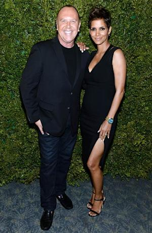 Halle Berry Accentuates Baby Bump in Sexy Black Dress With Thigh-High Slit