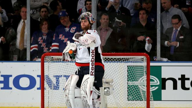 Braden Holtby #70 Of The Washington Capitals Looks On Against The New York Rangers In Game Five Of The Eastern Getty Images