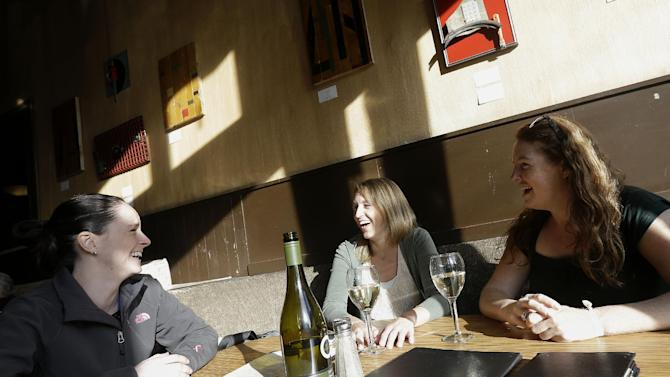 Kendra Chrysler, from left, Gretchen Puttkamer, Heather Pertel have a drink at Nova Bar and Restaurant in San Francisco, Wednesday, April 3, 2013. Across California, 2 a.m. is the witching hour for bartenders to issue the last call for drinks. But a proposed state law would give nightlife loving cities the option of allowing their bars and clubs to keep serving drinks for two more hours. (AP Photo/Jeff Chiu)
