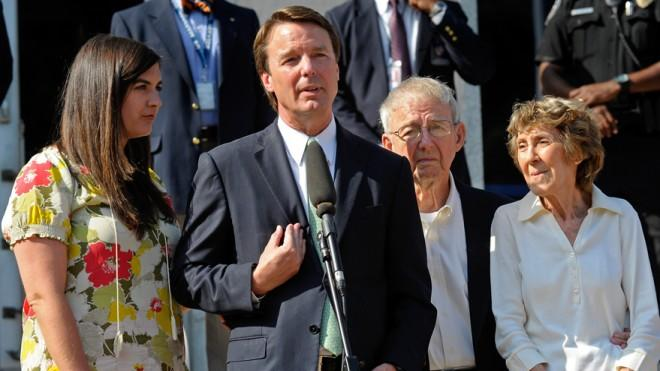 John Edwards, standing with his daughter and parents, speaks to the press after his trial on May 31, 2012.