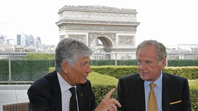 French advertising group Publicis Chief executive Levy and Omnicom Group head Wren attend a joint signature ceremony in Paris