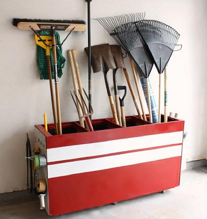Filing Cabinet Turned Garage Storage