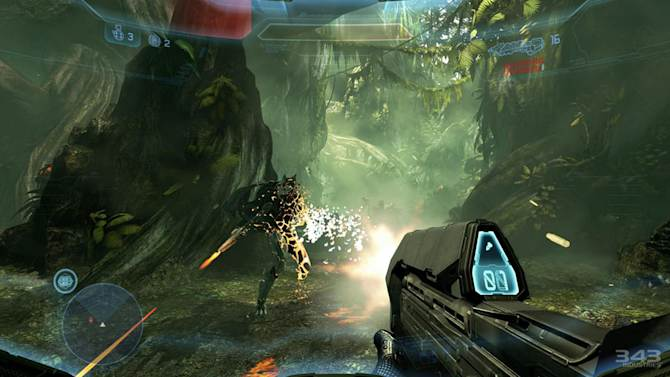"""This video game image released by Microsoft shows a scene from """"Halo 4."""" (AP Photo/Microsoft)"""