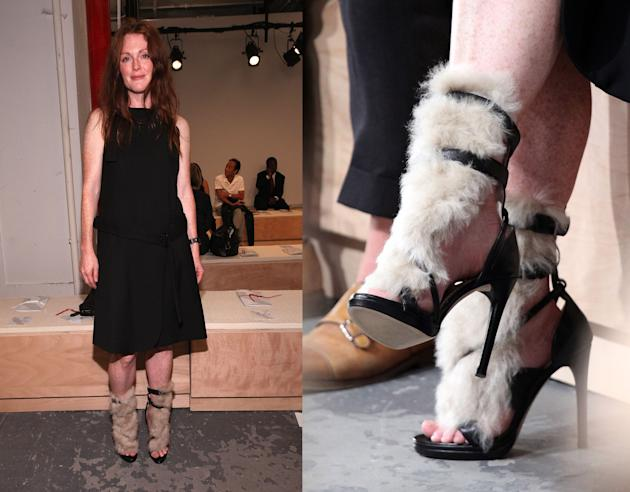 Julianne Moore's fur-covered sandals