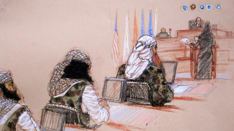 In this pool photo of a sketch by courtroom artist Janet Hamlin and reviewed by the U.S. Department of Defense, three of the five Sept. 11 defendants, from left, Ramzi Binalshibh, Walid bin Attash and the self-proclaimed terrorist mastermind Khalid Sheikh Mohammed, attend a hearing on pretrial motions in their death penalty case at the Guantanamo Bay U.S. Naval Base in Cuba, Monday, Jan. 28, 2013. Two of the defendants delayed the start of the hearing Monday when they refused to respond to questions from military judge U.S. Army Col. James Pohl, second from right. (AP Photo/Janet Hamlin, Pool)