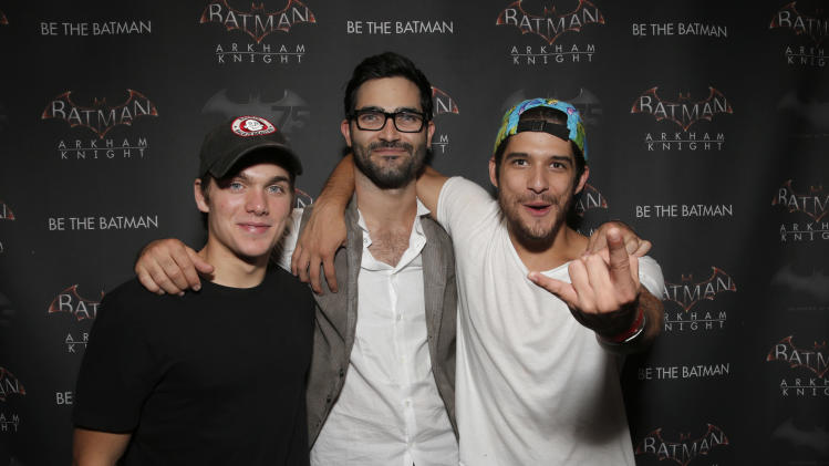 "IMAGE DISTRIBUTED FOR WARNER BROTHERS - Actors Dylan Sprayberry, Tyler Hoechlin and Tyler Posey attend Warner Bros. Interactive Entertainmentís 'Cape/Cowl/Create' event in downtown San Diego - a celebration of the iconic character's 75th anniversary and the upcoming release of ""Batman: Arkham Knight,"" during Comic-Con International 2014 at Hard Rock Hotel San Diego on July 24, 2014 in San Diego, California. (Photo by Todd Williamson/Invision for Warner Brothers/AP Images)"