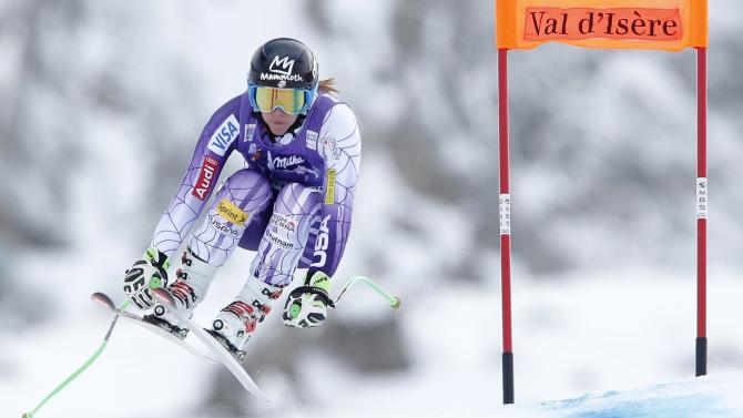 US Cook skis during the second training session for the Women's World Cup Downhill skiing race in Val d'Isere