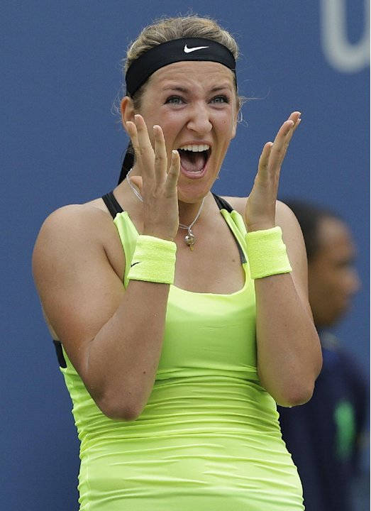 Victoria Azarenka, of Belarus, reacts after winning her match against Samantha Stosur, of Australia, in the quarterfinals of the 2012 US Open tennis tournament,  Tuesday, Sept. 4, 2012, in New York. (