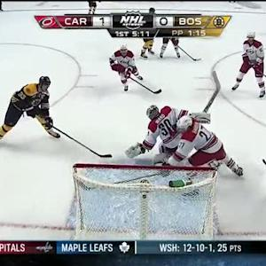 Zdeno Chara sweeps home the rebound