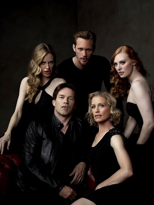 Kristin Bauer, Alexander Skarsgard, Deborah Ann Woll, Jessica Tuck, and Stephen Moyer in &quot;True Blood.&quot; 