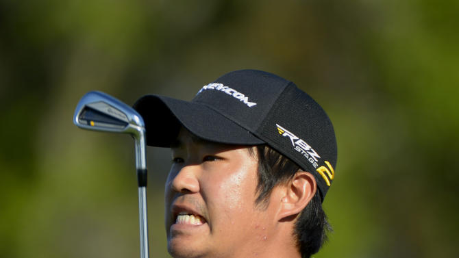 John Huh reacts after hitting his tee shot on the seventh hole during the first round of the Arnold Palmer Invitational golf tournament in Orlando, Fla., Thursday, March 21, 2013. (AP Photo/Phelan M. Ebenhack)