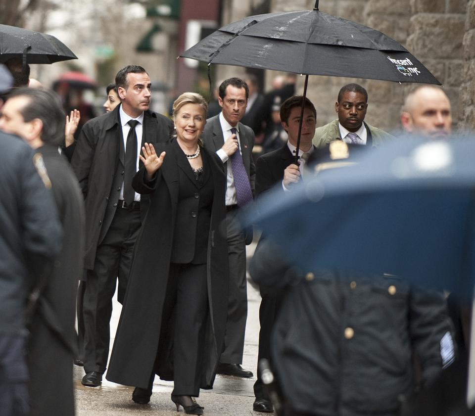 U.S. Secretary of State Hillary Clinton arrives for the funeral mass for former vice presidential candidate Geraldine Ferraro, Thursday, March 31, 2011 in New York. (AP Photo/Stephen Chernin)
