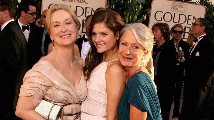 Meryl Streep,  guest and Helen Mirren, at the 64th annual Golden Globe Awards.