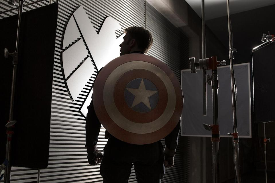 "This publicity photo released by Walt Disney Studios shows Chris Evans as Captain America from Marvel's ""Captain America: The Winter Soldier"" as the production commences principal photography in preparation for the April 4, 2014 film release. (AP Photo/Walt Disney Studios/Marvel, Zade Rosenthal)"