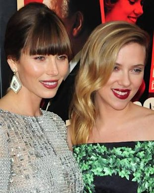 Jessica Biel and Scarlett Johansson at the premiere of Hitchcock in New York