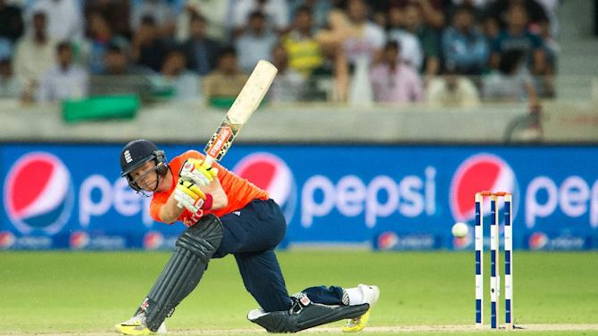 England's Sam Billings bats during the first T20 cricket match between Pakistan and England at the Dubai International Cricket Stadium on November 26, 2015