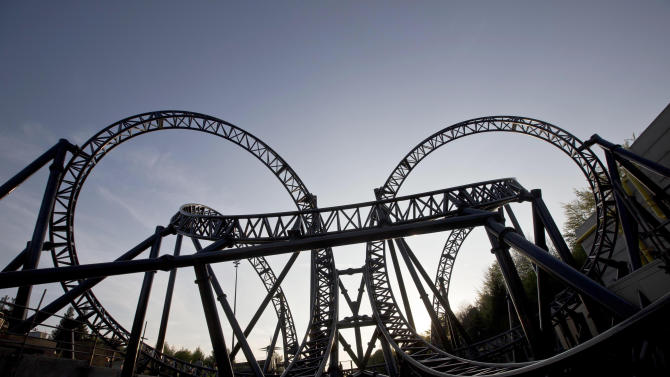 FILE - In this May 9, 2013 file photo, the tracks of the Smiler ride at Alton Towers Resort, Alton, England. The owners of Britain's Alton Towers said Wednesday, June 3, 2015 that they don't know when the amusement park will reopen after a crash between two roller coaster cars left four people seriously injured. (Fabio De Paola/PA Wire via AP, File) UNITED KINGDOM OUT, EDITORIAL USE ONLY, NO SALES, NO ARCHIVE