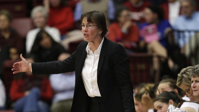 Stanford head coach Tara VanDerveer instructs her team against Arizona during the second half of an NCAA college basketball game in Stanford, Calif., Friday, Feb. 8, 2013. (AP Photo/Marcio Jose Sanchez)