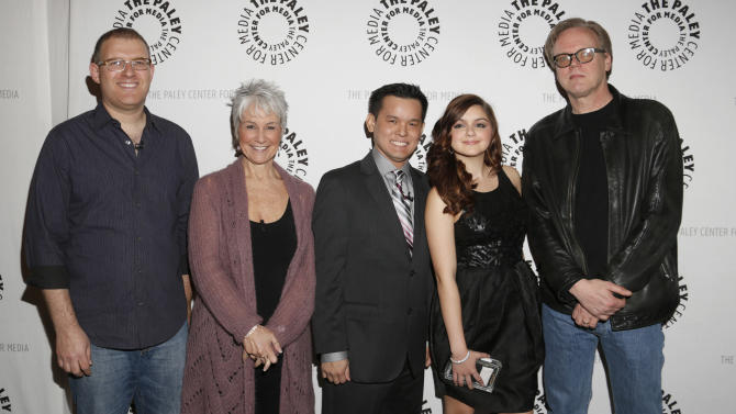 "Bob Goodman, Andrea Romano, Jay Oliva, Ariel Winter and Bruce Timm attend the west coast premiere of ""Batman: The Dark Knight Returns, Part 2"" at The Paley Center for Media on Monday, Jan. 28, 2013 in Beverly Hills, California. (Photo by Todd Williamson/Invision/AP Images)"