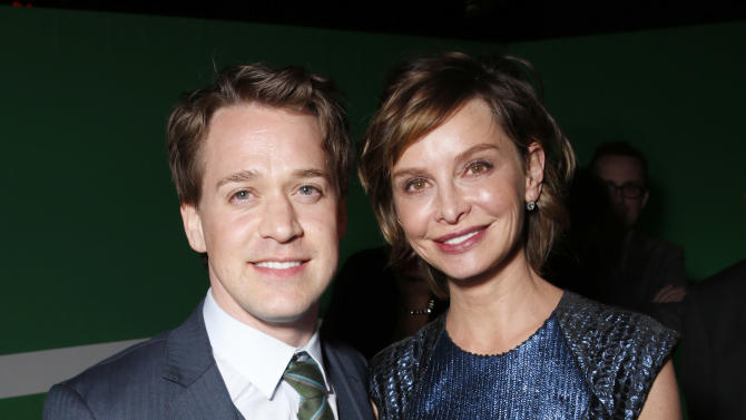 """T.R Knight and Calista Flockhart attend the after party for the LA premiere of """"42"""" at the TCL Chinese Theater on Tuesday, April 9, 2013 in Los Angeles. (Photo by Todd Williamson /Invision/AP)"""